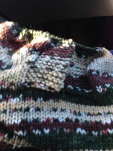 Knitting on a car trip.