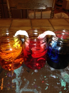 Dyeing with food coloring.