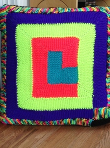 Front of the 10-stitch pillow.
