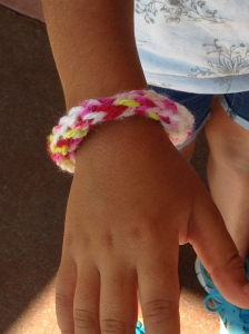 Spool knitted bracelet.