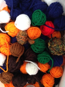 Small balls of yarn.