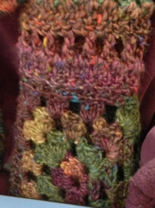 One of the granny squares and a few stripes.