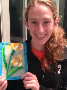 16 year old perler beads lilies.