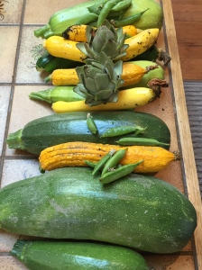 Squash, artichokes and snap peas.
