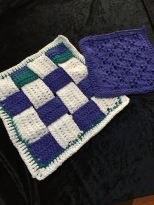 Knitted Dishcloth and Crochet Woven Square.